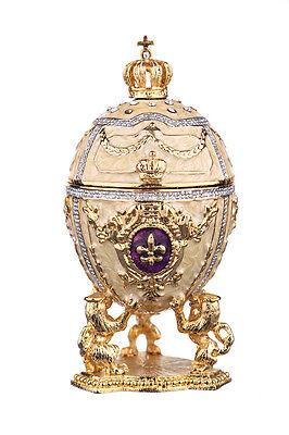 Decorative Faberge Egg / Trinket Jewel Box Russian Emperor's Crown 7.5 cm cream