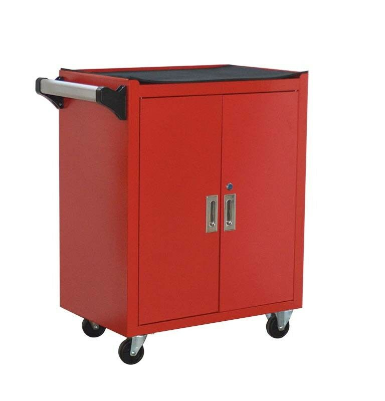 Red Double Door Rolling Cabinet Garage Three-layer Toolbox with Rubber Casters