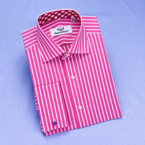 Red Pink Striped Formal Business Dress Shirt Wrinkle Free Plaids /& Checks