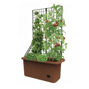 Space Saving Mobile Garden Planter With Trellis Self Watering Well