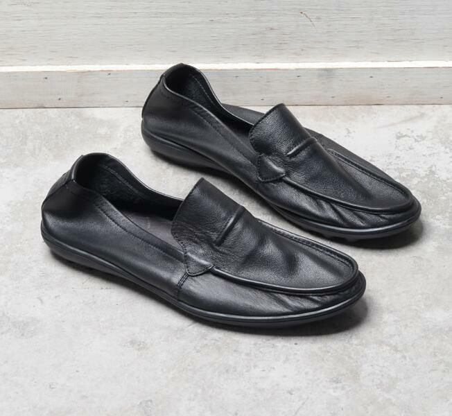Men's Slip On Leather Loafers Driving Moccasins Boat Black Soft Sole Flats Shoes