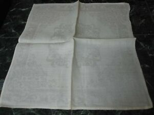 11-VINTAGE-WHITE-LINEN-DAMASK-NAPKINS-with-FLOWERS-16-3-4-034-X-18-1-2-034
