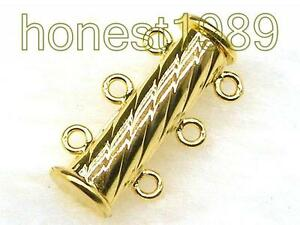 3 Strand 14K Gold Filled Columnar Magnetic Jewelry Clasp For