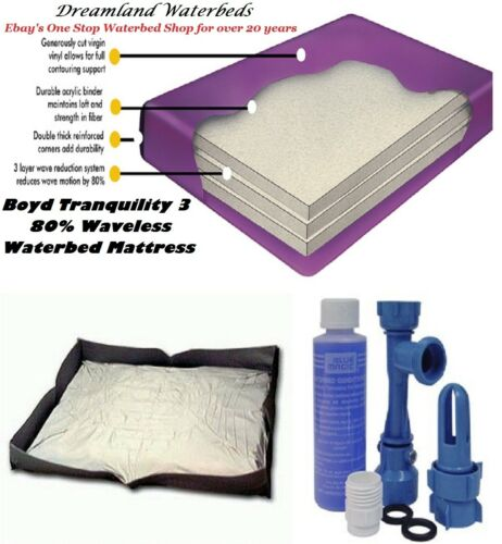 KING//CAL KG 80/% Waveless BOYD Waterbed Mattress...Add Heater Liner Conditioner