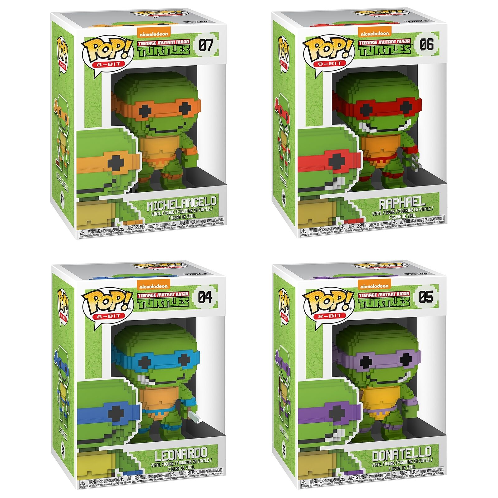 Funko Pop  Vinyl 8-Bit Teenage Mutant Ninja Turtles Set Of 4 Figure Saver Bundle