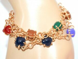 PULSERA-mujer-oro-piedra-azul-rojo-verde-bronce-brazalete-elegante-F175