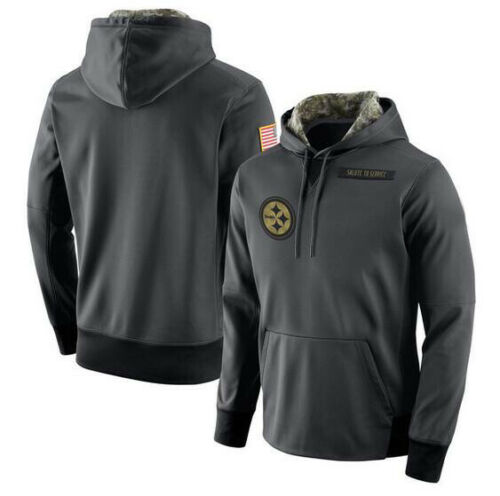 Details about  / Pittsburgh Steelers Anthracite Salute Service Sideline Therma Pullover Hoodie