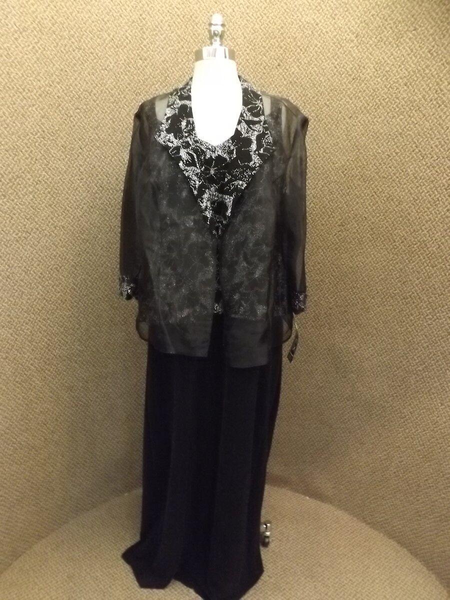 NEW Classy Alex Evenings schwarz Sparkly Jeweled Full Length Dress Plus Sz 20W