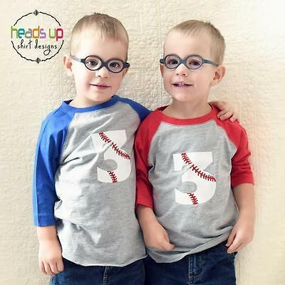 f1d668a5 Baseball Birthday Shirts Twin Boys 3rd Bday tshirts Three Sports Tees 3  Raglans