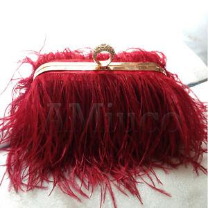 Luxury-Ostrich-Feather-Bag-Metal-Chain-Handbag-Women-039-s-Evening-Clutch-Bag-Purse