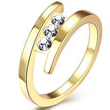 Due livelli Oro Grandi Donne Nozze Finger Ring diametro 18 mm Taglia Q fr222