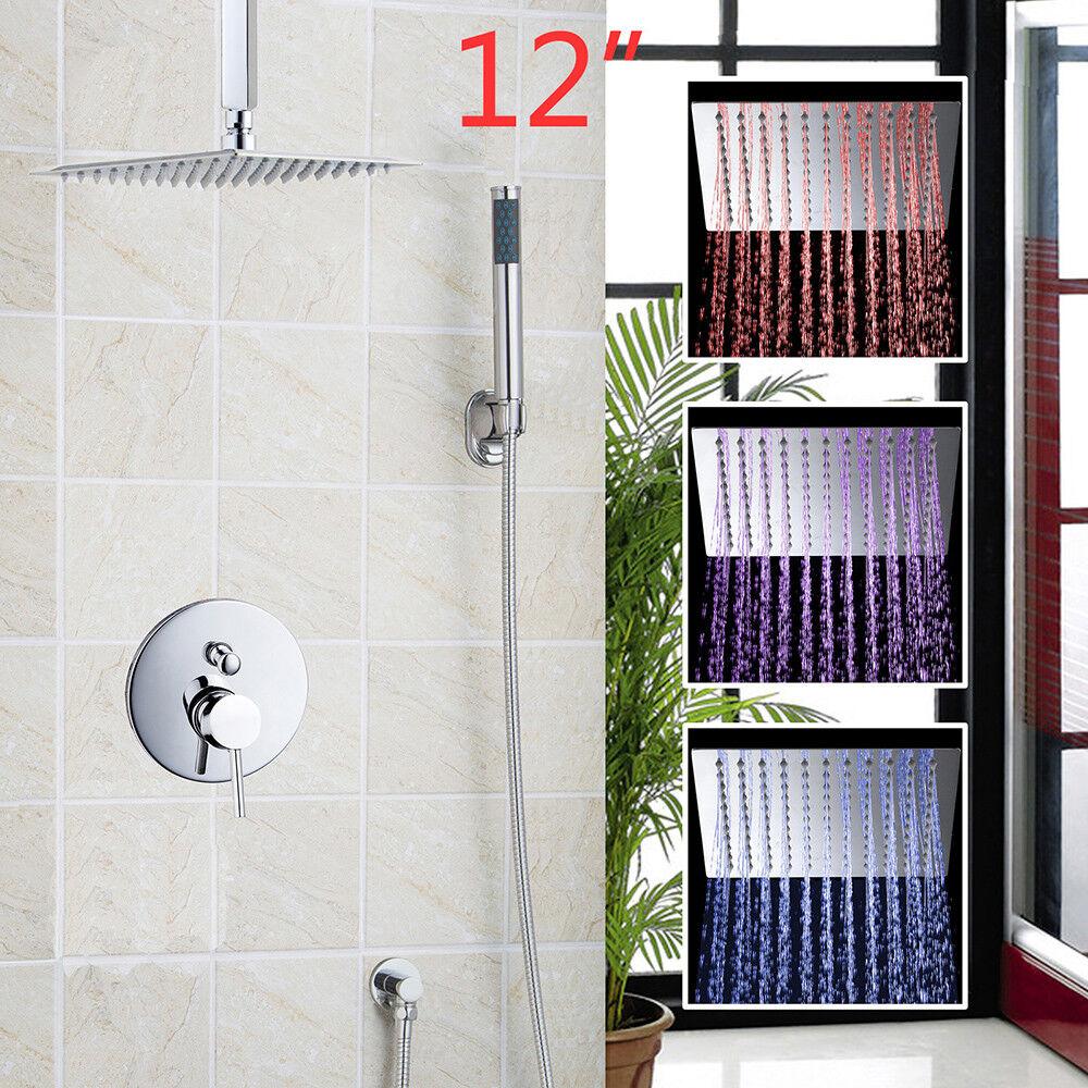 12  LED pioggia soffione della doccia bagno vasca da Bagno Doccia Set con SPARYER a mano altezza regolabile
