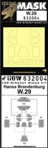 HGW 1:32 Hansa Brandenburg W.29 for Wingnut Wings  Paint Mask Detail Set #632004