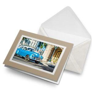 Greetings-Card-Biege-Cool-Havana-Cuba-Retro-Car-3341