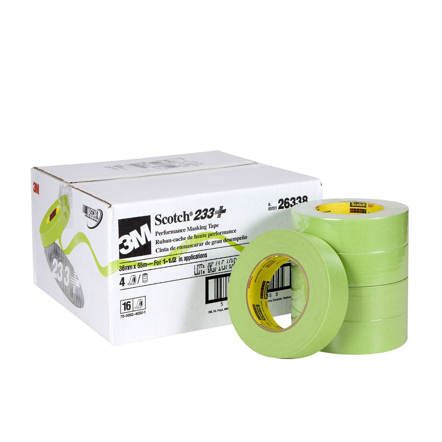 3M 26338 Scotch Performance 1-1 2  Green Masking Tape 233+ 16 rolls Made in USA