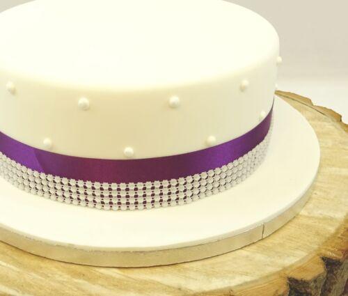 Cinta de raso 35mm /& Perla Adorno para decoración de pasteles de cumpleaños /& Wedding Cake Topper
