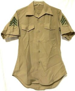 2-USMC-Marine-Men-Tan-Button-Sergeant-Rifle-Chevron-Patch-Shirt-Size-14-1-2-SB11