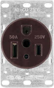 50-Amp 2-Pole 3-Wire 250-V Heavy Duty Grade Flush Mount Power Receptacle Brown