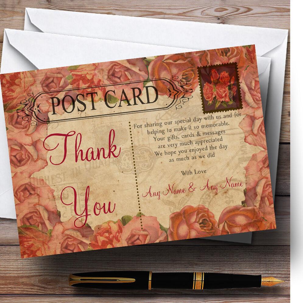 Carte Postale Rustique Rustique Postale corail rose cachet Mariage Personnalisé cartes remercieHommes t bf9cf0