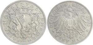 Kaiserreich-Bremen-5-Mark-1906-J-60-ss-vz-kl-Randfehler
