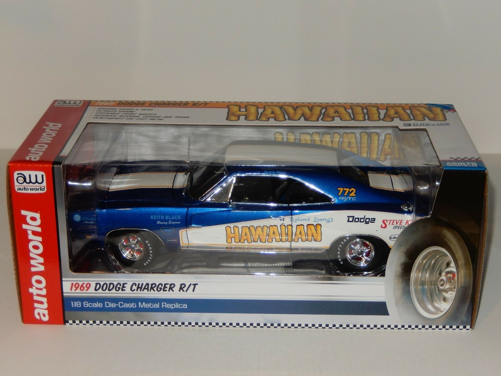 1 18 Scale Ertl Auto World  Hawaiian  1969 Dodge Charger R T, Item AW231 06