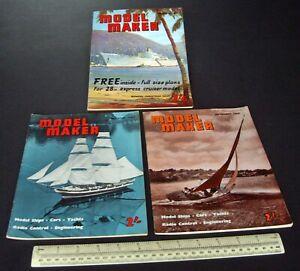 1960-Vintage-Model-Maker-Magazine-x-3-Ships-Cars-Yachts-Adverts-Engineering-1