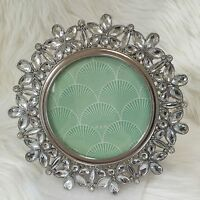 Windsor Photo Frame Crystal Rhinestone 4 Round Silver Metal Tabletop Picture