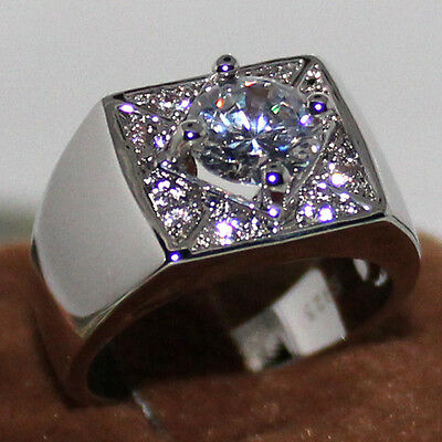 Size 8 Classic Jewery Round Cut White Sapphire 925 Silver Engagement Band Ring