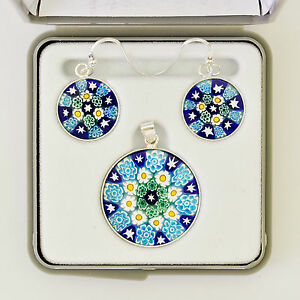 MURANO GLASS PENDANT EARRING SET IN STERLING SILVER ANTICA MURRINA ...