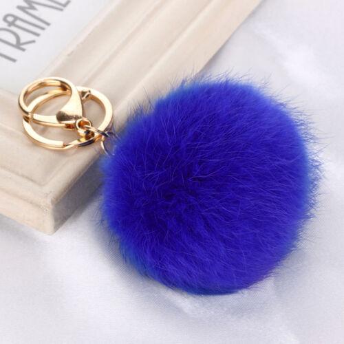 Faux Fuchs Pelz Ball PomPom Anhänger Handtasche 8//10//13cm Key Chain Ring