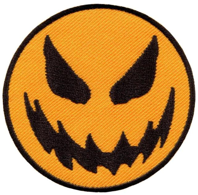 scary halloween jack o lantern smiley face retro applique iron on patch new g