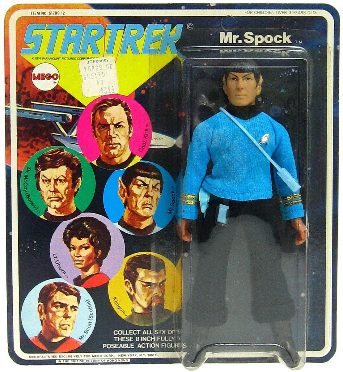 Vintage Mego Star Trek Mr. Spock Vulcan 8 figura menta ENLOMADOR sellado menta en tarjeta