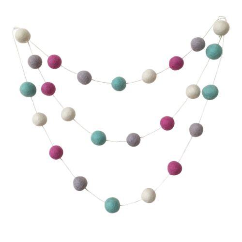 Mint Grey Pink Nursery Decor Pom Pom Felt Ball Garland Bunting Baby Shower Boho
