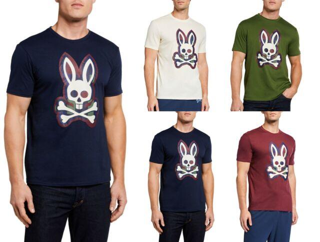 Psycho Bunny Men/'s Multicolor Big Bunny Crew-Neck Short Sleeve T-Shirt