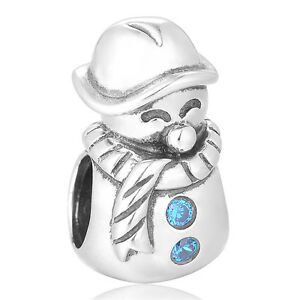 Happy-Snowman-Charm-Silver-European-Bead-Sparkling-Jewellery-Gift