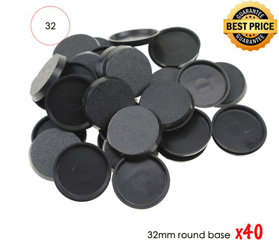 40mm Round Plastic Bases for Gaming Miniatures and Table Games Set of 40