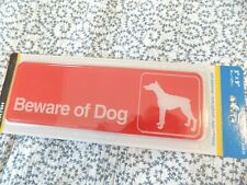 Hillman 848636 Beware of Dog Visual Impact Self Adhesive Sign Red and White Plastic 3x9 Inches 1-Sign
