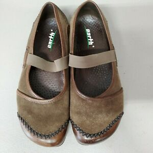 Earth-CARIBOU-ALLURE-Womens-7-5B-Mary-Jane-Comfort-Shoes-Brown-Leather-Suede