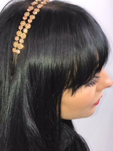 BLING Double Row Headband Rhinestones Rose Gold Crystals Jewelled Hairband NEW