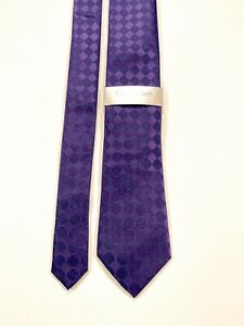 Calvin Klein Men's 100% Silk Purple Diamond Print Design NEW NWT