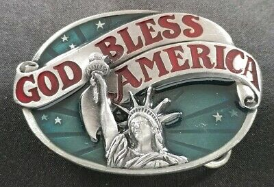 Patriotic American USA Flag Silver Vintage Finish Metal Belt Buckle