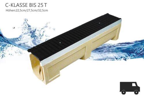 Breite 19 cm Entwässerungsrinne Polymerbeton Gussrost Kl.C-250 bis 25t