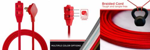 2 Prong Power 8 ft Bright Red Cordinate Designer 3-Outlet Extension Cord