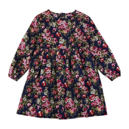 Newborn Toddler Baby Girls Kids Dress Long Sleeve Princess Party Pageant Dresses