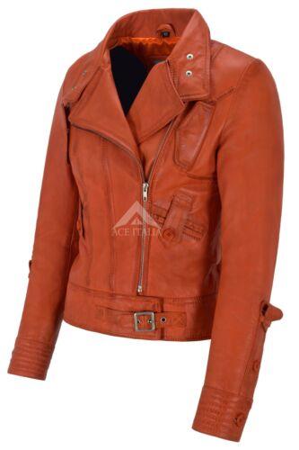 pelle vera biker Giacca pelle 4110 stile Designer da arancione in Supermodel in agnello di donna vPwHS4q