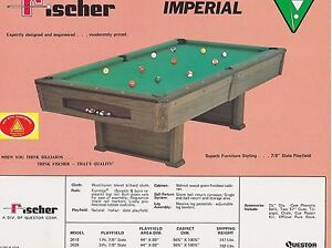 VINTAGE AD SHEET FISCHER BILLIARDS POOL TABLE IMPERIAL EBay - Fischer pool table