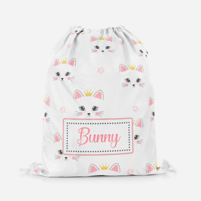 Personalised Cute Kitty Cat Princess Crown Kids Swimming School Drawstring Bag