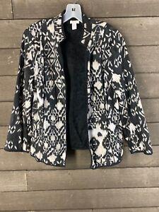 Chico's 134 Black White Ikat Open Front Women's Jacket Blazer 2