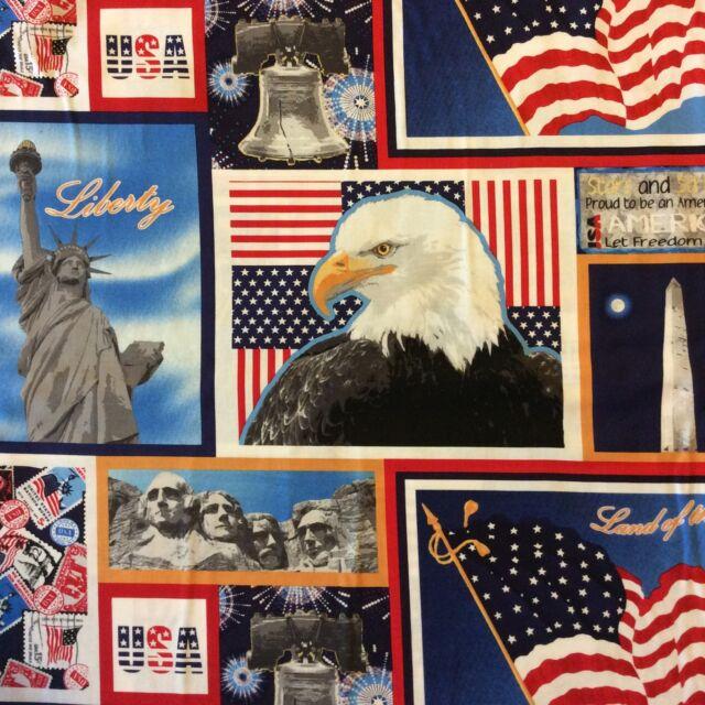 PB10 America Patriotic Bald Eagle Liberty USA Freedom Stars Cotton Quilt Fabric