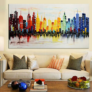 Modern City Canvas Abstract Painting Print Living Room Art